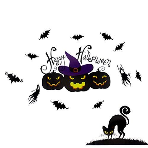 Hosaire 1x DIY Glasaufkleber Wandaufkleber Kreativer Elektrostatische Aufkleber Fensteraufkleber Halloween Party Dekoration 72X50CM Stil 1