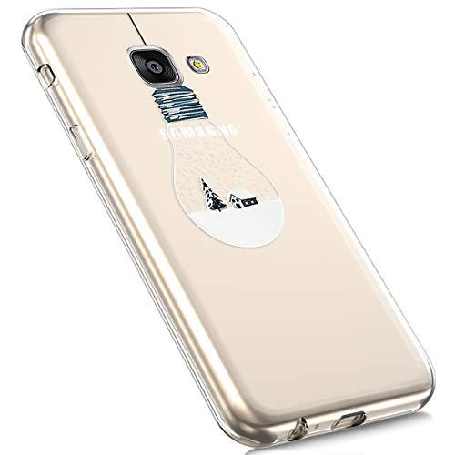 MoreChioce Coque Galaxy A3 2016,Coque Galaxy A3 2016 Transparente, Transaprent Silicone Cerf Noël...