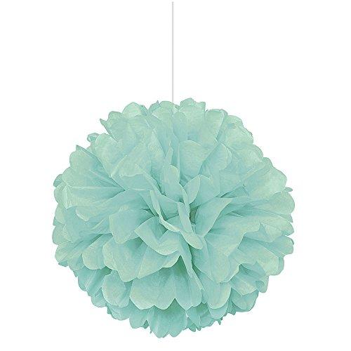 Unique Party- Pompón de papel de seda, Color verde menta, 40 cm (63207)