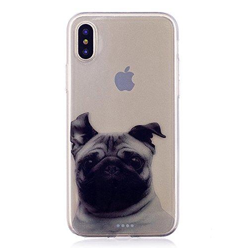 Cover iPhone X, Voguecase Custodia Silicone Morbido Flessibile TPU Transparent Custodia Case Cover Protettivo Skin Caso Per Apple iPhone X(fiore Skull 12) Con Stilo Penna Sharpei 05