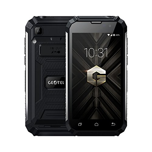 Rugum Geotel G1 Robuste Sim-Free 3G Smartphone,Wasserdichte Outdoor Handy, Stoßfest, Staubdicht, MTK6580A Quad Core 1.3GHz, Andriod 7.0, 7500mAh Große Batterie,5.0in Display, Dual Sim-Card (Schwarz) G1 Handy