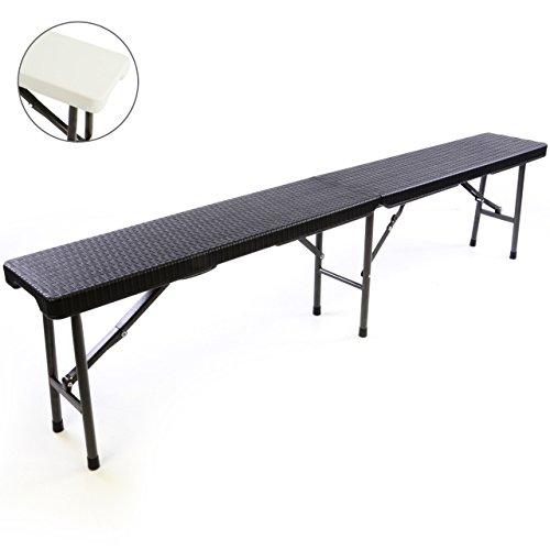 Partybank Klappbank 180 x 25 x 41 cm Bierbank bis 200 kg Gartenbank Garnitur robust stabil wetterfest Kunststoff für 4 Personen Farbe wählbar schwarz weiß (schwarz)