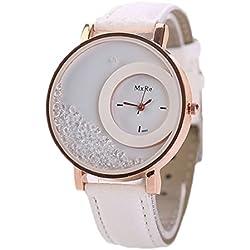 Tonsee Leger bunten Sand Damen Frauen Armbanduhren PU Leder Armband Studentinnen Uhren,Weiß