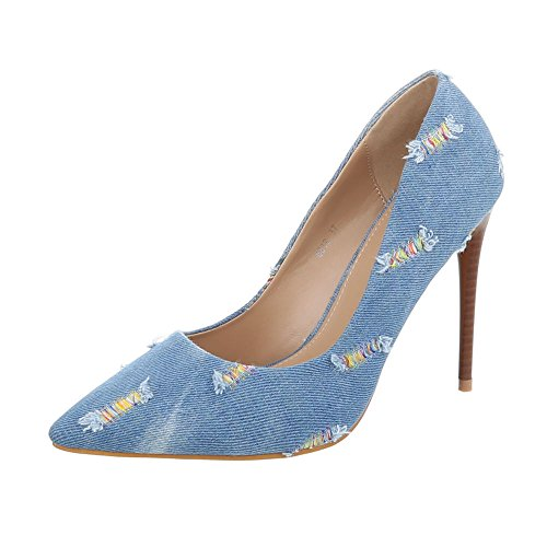 Ital-Design High Heel Pumps Damen-Schuhe High Heel Pumps Pfennig-/Stilettoabsatz High Heels Pumps Hellblau, Gr 37, 6819-