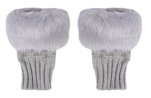 Natuworld Damen Winterhandschuhe in Einem weichen, wärmenden Strickdesign, Kunstfell/fingerlos, Damen Mädchen, hellgrau, One Size - Mädchen Kunstfell