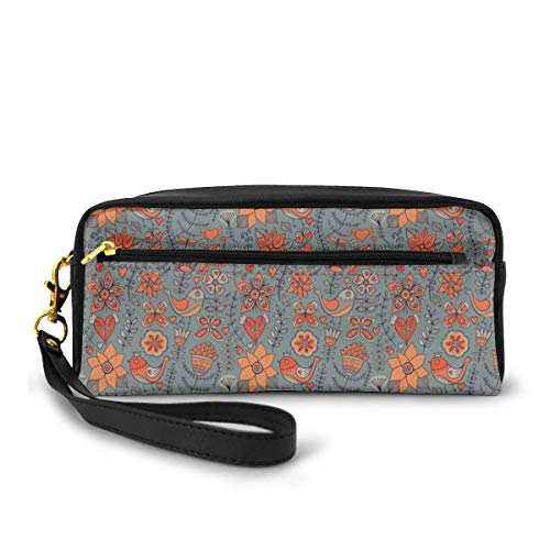 Pencil Case Pen Bag Pouch Stationary,Doodle Art Of Birds Blossoming Branches Leafy Stems And Hearts Summer Garden Theme,Small Makeup Bag Coin Purse -