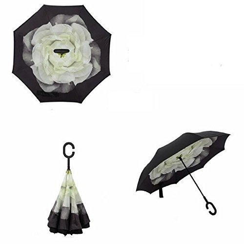 Autonorth Double Layer Reverse Outdoor Stick Umbrella Windproof Waterproof and Self Standing Inside Out Umbrella Best for Travelling and Car Using Color Gardenia