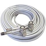 10m hochwertiges low loss TWIN-Koax-Antennenkabel für Novero (Funkwerk) Dabendorf LTE 800 1800 2600 MIMO Antenne in smartem hellgrau, 2xBNC-Winkelstecker - 2xSMA-Stecker
