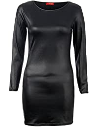 Fast Fashion Damen Kleid Plus Size Wetlook Dehnbar Bodycon Midi