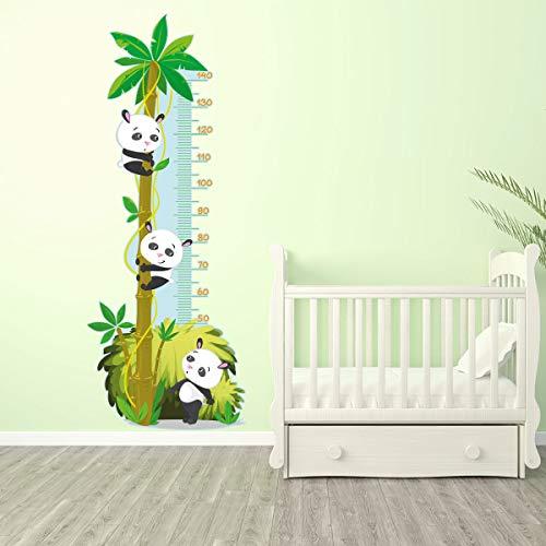 Stickers adhésifs Toise | Sticker Autocollant Pandas et Palmier - Décoration murale chambre enfants | 155 x 60 cm