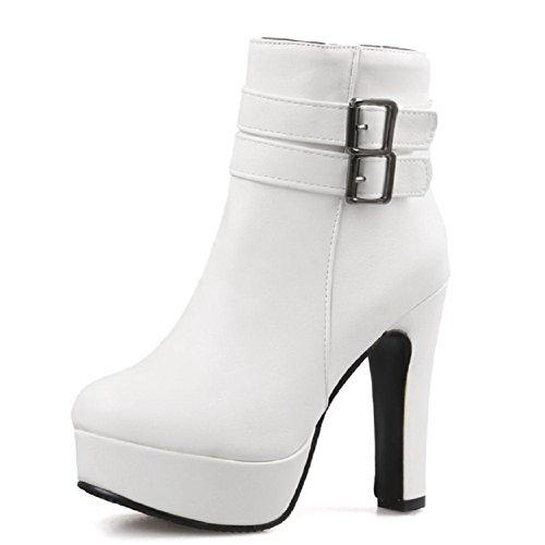 AllhqFashion Damen Rein PU Leder Hoher Absatz Rund Zehe Stiefel mit Metall Schnalle, Weiß, 41