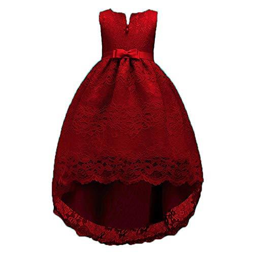 Xmiral abito con gonna in pizzo con fiocco e abito da principessa festa cosplay abito da sposa vestito della principessa altezza: 140cm vino