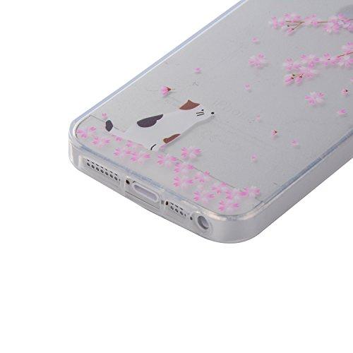 Apple iPhone 5/5S/SE Case,Feeltech |Gratuit Stylet| Premium Slim Coque TPU Gel Ultra Mince Étui Protecteur Housse Clair Nouveau Collection Avec Silicium Colorée Dessin Motif Protection Couverture Arri Fleurs de cerisier Chat