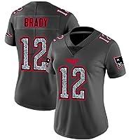 Camiseta de fútbol Americano para Mujer, 12# Tom Brady Patriots Top de Ropa Deportiva de fútbol Americano, Moda