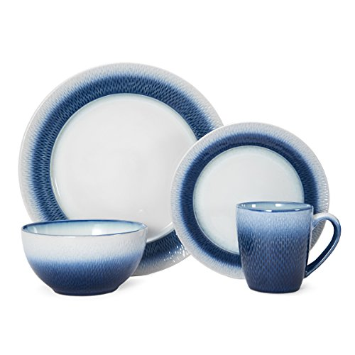 Pfaltzgraff Eclipse 16 Piece Stoneware Round Dinnerware Set, Blue