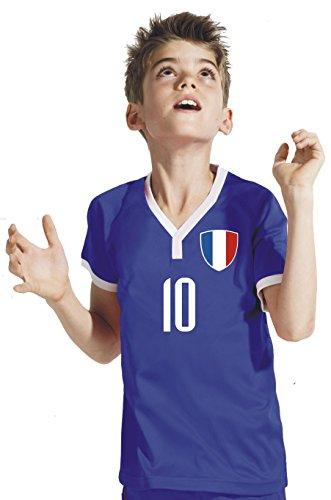 Frankreich Kinder Trikot - Hose Stutzen inkl. Druck Wunschname + Nr. BWR WM 2018 (128)