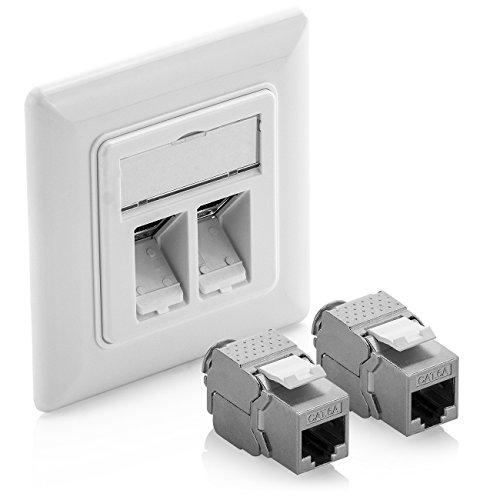 deleyCON 1x Keystone Dose Netzwerkdose Datendose Unterputz + 2X CAT 6a Keystone Jack Modul RJ45 Buchse - CAT Netzwerk Verlegekabel vollgeschirmt Uni Weiß -