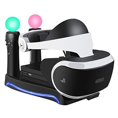 LIDIWEE Neu PlayStation 4 VR Brille Headset Ständer mit LED-Umgebungslicht und Halterung der Prozessoreinheit (CUH-ZVR2), Dual PSVR MOVE Controller PS4 Ladestation - Schwarz
