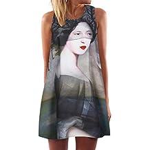 Vestido de Mujer Vintage Boho Mujeres Verano sin Mangas Playa Impreso Mini Vestido Corto