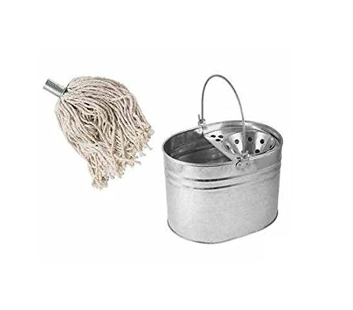 mop-bucket-and-10-mop-head-set-heavy-duty-metal-galvanized-floor-cleaning-basket-14-ltr