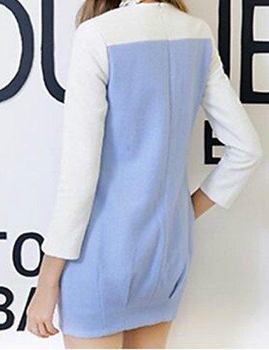 PU&PU Robe Aux femmes Ample Street Chic,Couleur Pleine Col Arrondi Au dessus du genou Coton BLUE-M