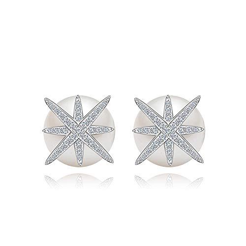 DuDuDu Perlenohrringe Zirkon Sterne Silber Nadel Anti-Allergie-Ohrringe Pack Platinum Zwei 13,7 mm * 13,7 mm -