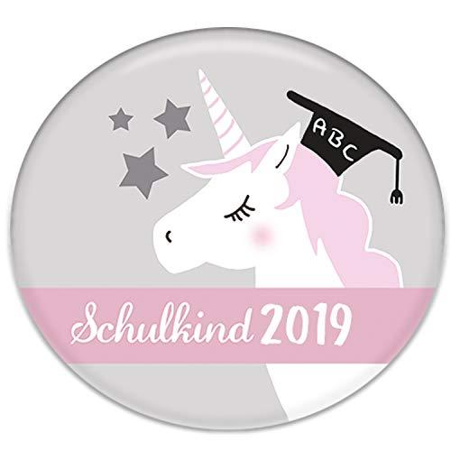 Polarkind Button Pin Anstecker Einhorn Schulkind 2018 Geschenk Zum Schulanfang für Schultüte Zuckertüte 38mm Handmade Mädchen