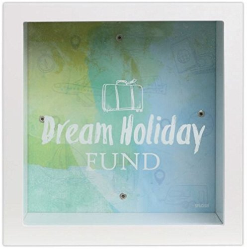 Dream Holiday Fund Change Box Gift Square Glass Front To See Savings Inside