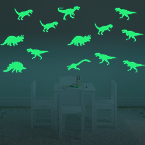 Image of ufengke® 9-pcs Dinosaurs Wall Decals Fluorescence Stickers Glow in The Dark, Children's Room Nursery Removable Wall Stickers Murals