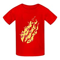OWIIWJS Kids Preston Nation Playz Flame Pizza t shirt Summer Tees Soft Crewneck Tops