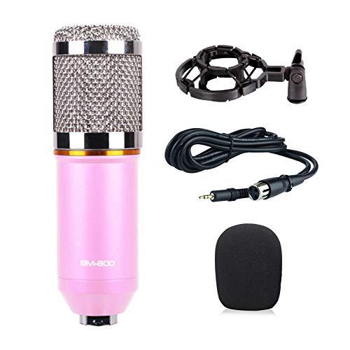 THINKMIC Aufnahme mit professionellem kapazitivem Mikrofon (herzförmiges Punkt, 20 Hz-20 kHz, 48 V Phantomspeisung) für Podcasts, Aufnahmen, Online-Chats, wie Facebook, Skye, YouTube - Rose (Guitar Mount Mic)