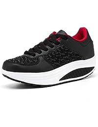 6d5ad6b7d45 Mujer Zapatillas de Deporte Cuña Zapatos para Caminar Aptitud Plataforma  Sneakers con Cordones Calzado de Tacón