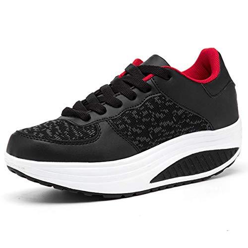 Mujer Zapatillas de Deporte Cuña Zapatos para Caminar Aptitud Plataforma Sneakers con Cordones Calzado...