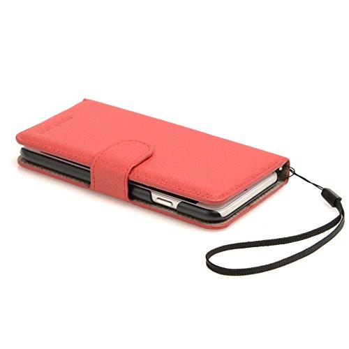 Madcase Apple iPhone SE / 5S / 5 Schutzhülle Ledertasche mit Kartenfach Premium Design Case Tasche Portemonnaie PU Leder Hülle - Orange Genarbtes weiches PU - Rot