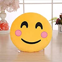 YUYOUG Large Emoji Pillows Case, 32CM / 12 Inches Yellow Round Thick QQ Smiley Emoticon Stuffed Plush Toy Doll Pillow Case Cover , Plush and Soft Emoticon Cushions