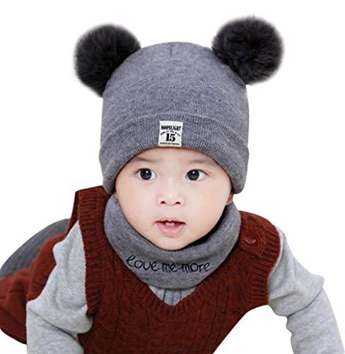 Knit Winter-schal (Baby Mütze Schal Set,Tomatoa Neugeborene Kinder Baby Mädchen Hut Winter Keep Warm Knit Crochet Beanie Cap Schal Set)