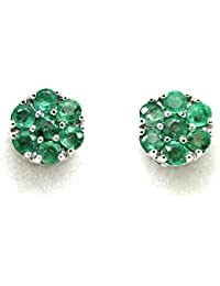 Natural Emerald Cluster Earrings in Heavy White Gold 2 Grams