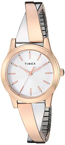 Timex Women's TW2R98700 Stretch Bangle Crisscross25mm Silver-Tone Expansion Band Watch