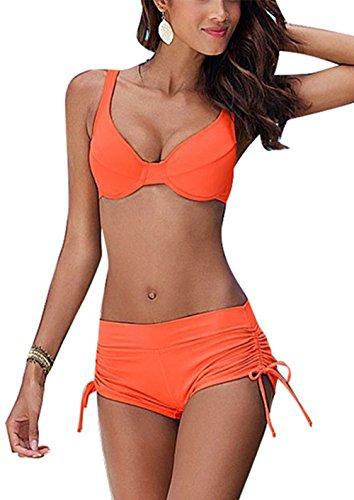 Aidonger Frauen Sexy Push-up Bandage Schöne Bademode mit Damen Hot Metall Dekoration Bedeanzug Mädchen Sommer Bikini-Sets mit Stahlstütze Brustpolster Cups Bikini (EU 42, Orange) (Hot Sexy Mädchen Bikinis)