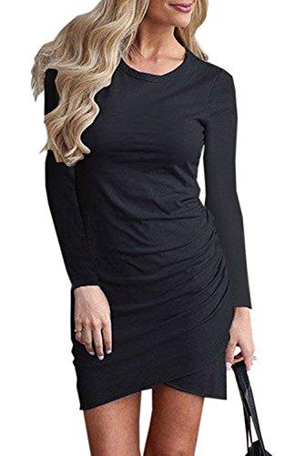 Minetom Damen Enges Kleid Sommerkleid Rundhals Langarm Kleid Bodycon Unregelmäßig Minikleid Abendkleid Ballkleid Sexy Einfarbig Cocktailkleid A Schwarz DE 44