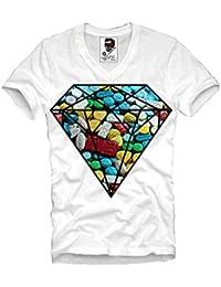 E1SYNDICATE V-NECK T-SHIRT XTC ECSTASY DIAMOND PARTY RAVE DJ TECHNO KN9A LSD MDMA S-XL