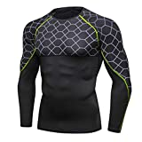 MOIKA Maillot Compression à Manches Longue Sport et Loisirs T-Shirt Fitness Running Slim Musculation Sports Séchage Rapide Baselayer Haut (Green,M)