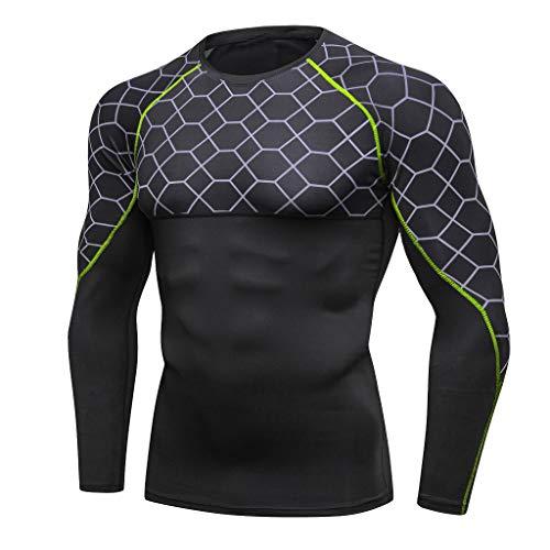 Fenverk Ultra Cool T-Shirt Herren Sportlich Sport Oben Zum Laufen Radfahren Fitnessstudio Trainieren Kompression Ausbildung Muskel Fest Panzer Tops Mann Gamaschen Fitness Yoga Hemd(Grün,XL)