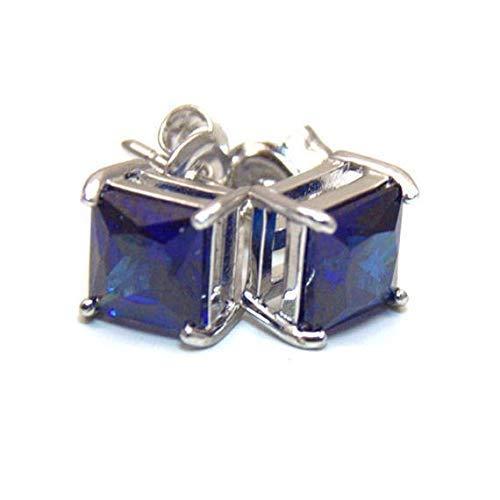 Saphir Blaue Ohrstecker Silber 925 6 mm (Blau 6mm Saphir)