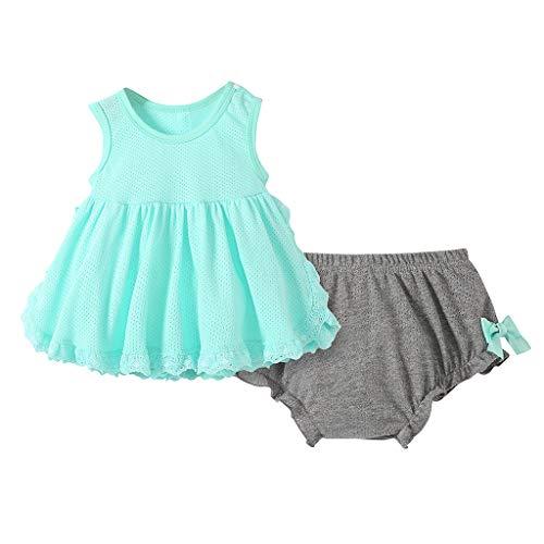 Julhold Baby Kinder Mädchen Niedlich Atmungsaktives Netz Ärmellos Lässige Rock Bogen Shorts Outfits Set 0-3 Jahre