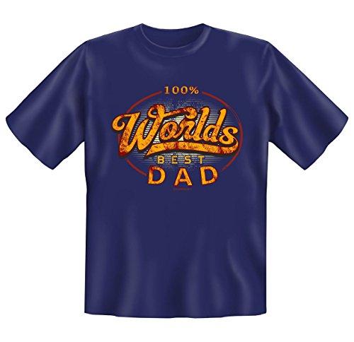 cooles Sprüche Fun T-Shirt für Herren in der Farbe navy-blau mit Mini Shirt - 100% worlds best Dad - ideales Geschenk Navy-Blau