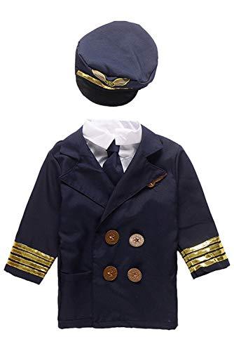 MingoTor Pilot Kostüm Blau Uniform Berufe Cosplay Set für Kinder Jungen