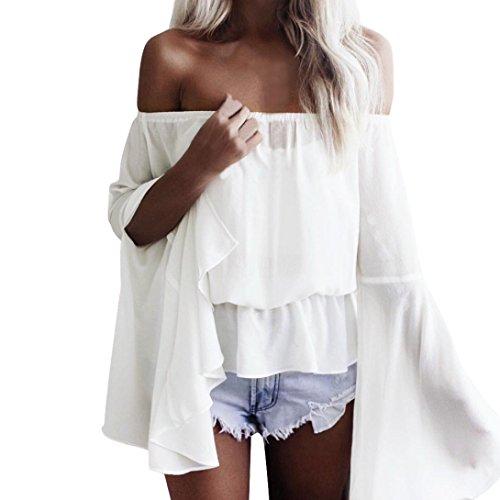 Damen Horn Hülse Oberteile, OYSOHE Neueste Frauen Mode Slash Neck Chiffon Mandarin-Hülse lose Tops T-Shirt Ernte Bluse (XL, Weiß)