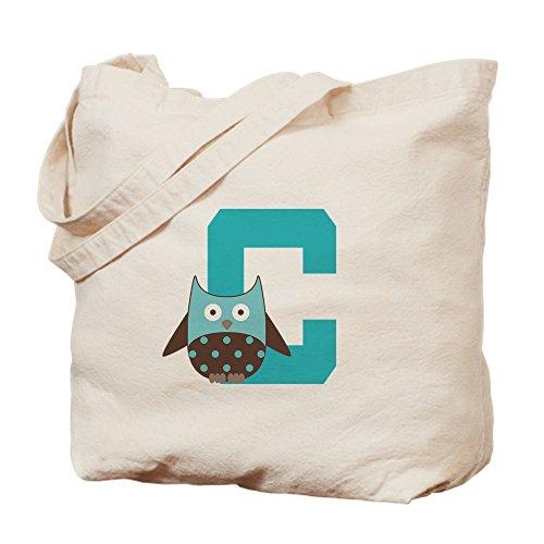 CafePress Buchstabe C Eulen mit Monogram-natürliche Canvas Tote Bag, Tuch, mit Tasche, canvas, khaki, S -