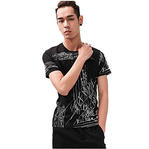 SHISHANG Collare Europa corta Slim rotonda manica T-shirt da uomo in cotone pregiato Estate Bianco Bianco Verde Nero Grigio Black